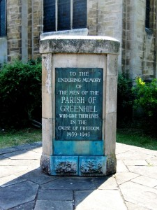 Second World War memorial in church garden