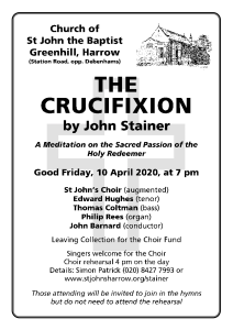 Cancelled: Stainer's Crucifixion